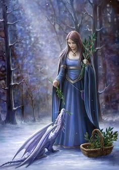 """""""Solstice Gathering"""" Anne Stokes Magic Yule Card"""