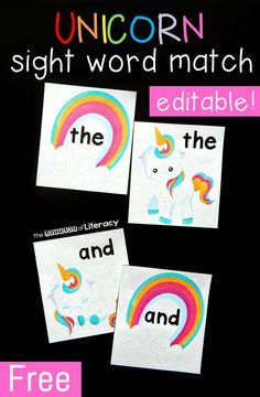 Free editable unicorn sight word matching game! Awesome literacy center for Kindergarten or first grade.