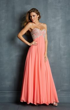 Coral Long Strapless Prom Dresses With Beading 2014