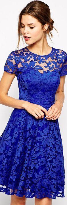 rebecca taylor blue lace dress 2015 - Google Search