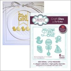 Baby dies LITTLE TREASURES Welcome Little One words Creative Expressions die set #CreativeExpressions