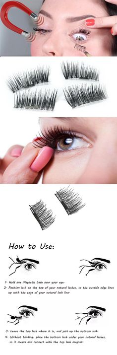 US$11.99 Magnetic Eye Lashes Reusable Ultra Thin Black Thicker 3D Magnet False Lash Makeup