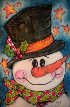 Frosty Fun is yet another image from Jen's Flickr portfolio - isn't she a clever artist? Her pics are always bright and fun. Check out her other stuff and freebies on Pop Art Minis. #art #snowman #Christmas