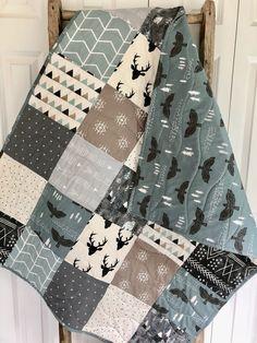 Baby Boy Bedding, Baby Boy Quilts, Rustic Nursery, Woodland Nursery, Crochet Quilt Pattern, Baby Boy Quilt Patterns, Toddler Quilt, Boy Decor, Art Quilting