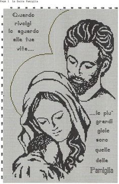 SCHEMA INTERO SACRA FAMIGLIA Crochet Stitches Patterns, Crochet Chart, Crochet Motif, Embroidery Patterns, Cross Stitch Designs, Cross Stitch Patterns, Cross Stitching, Cross Stitch Embroidery, Cross Stitch Silhouette