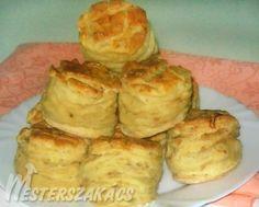 Káposztás pogácsa elkészítése: A káposztát megtisztítjuk, apró lyukú reszelőn lereszeljük, levét kinyomkodjuk. Az olajon az apróra vágott vöröshagymát megdinszteljük, ... Cauliflower, Muffin, Dairy, Cooking Recipes, Cheese, Cookies, Baking, Vegetables, Breakfast