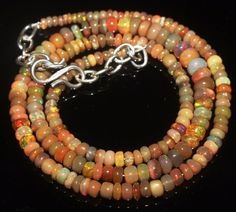 42 CTW 2-5.5 MM 16 NATURAL GENUINE ETHIOPIAN WELO FIRE OPAL BEADS NECKLACE-R5937