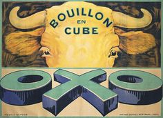 Buy online, view images and see past prices for Original French OXO Beef Cubes Advertising Poster. Invaluable is the world's largest marketplace for art, antiques, and collectibles. Vintage French Posters, French Vintage, Cow Art, Vintage Food, Advertising Poster, Art Posters, Kitchen Art, Animal Paintings, Vintage Advertisements