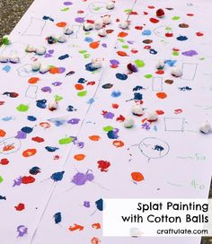 Splat Painting with Cotton Balls - outdoor process art