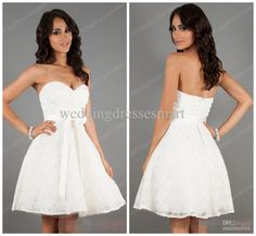 Wholesale Ball Gown Wedding Dresses - Buy Little White Lace Wedding Dresses Sweetheart Sash Bow Ball Gown 2014 Beach Bridal Short Reception ...