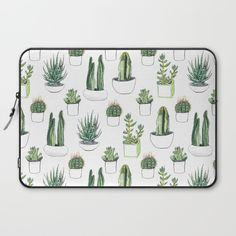 Watercolour Cacti & Succulents Computer Cover by Vicky Webb Aka Crumpetsandcrabsticks - Laptop Sleeve - Computer Cover, Laptop Covers, Watercolor Cactus, Watercolour Drawings, Macbook Pro Case, Macbook Air, Macbook Sleeve, Apple Laptop, Best Laptops