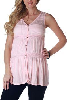 Pink Button Front Maternity/Nursing Tank Top