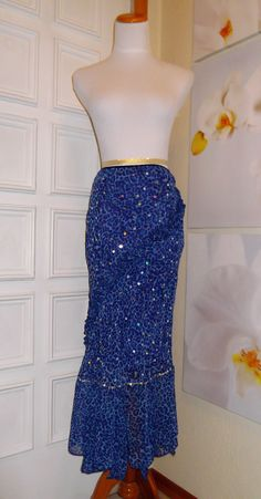 Gap Maxi Skirt Asymmetrical Hem Blue Leopard Print Sequins ruffles #GAP #Maxi