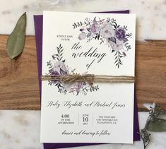 Violet Floral Wedding Invitation, Purple Wedding