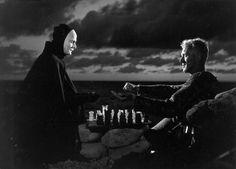 "Max Von Sydow as Antoninus Block, playing chess with Death (Bengt Ekerot) in Ingmar Bergman's, ""The Seventh Seal"", Bergman Movies, Bergman Film, Ingmar Bergman, Max Von Sydow, First Art, Hannah And Her Sisters, Mike Nichols, The Seventh Seal, Mad Men"