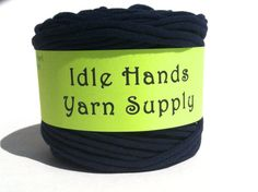 Navy Blue Tarn Recycled T Shirt Yarn  42 by IdleHandsYarnSupply, $7.30
