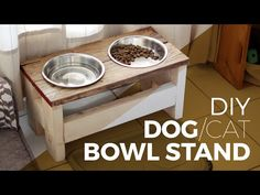 Feed your dog in style with our raised dog feeding station. Made from reclaimed up-cycled pallet wood, the stand has been finished with a modified Japanese tradition of shou-sugi-ban. We finish the wood with fire Dog Station, Dog Feeding Station, Dog Food Stands, Dog Bowl Stand, Elevated Dog Bowls, Raised Dog Bowls, Raised Dog Feeder, Dog Food Bowls, Woodworking Furniture