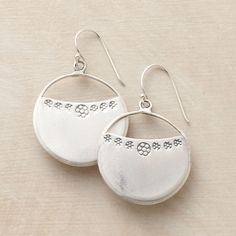 """LUNA EARRINGS--Little moons on the brink of fullness: artisan sterling silver crescent earrings with stamped flowers. Handmade. 1-5/8""""L."""