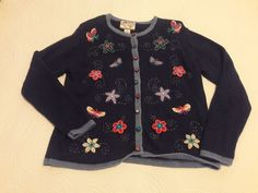 Heirloom Collectibles, Women's Sweater, Blue, Embroidered Design, Size Medium  #HeirloomCollectibles #Crewneck #sweaters #womenswear  #womensfashion