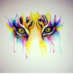 Watercolor tiger eyes