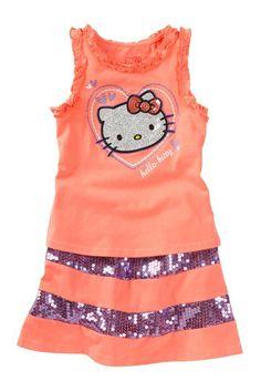 Hello Kitty Applique Tank Top & Striped Skirt Set (Little Girls) by Hello Kitty on @HauteLook