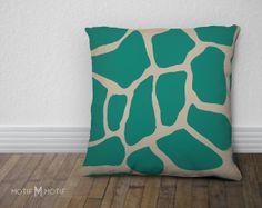 Teal Giraffe Print Pillow Cover  Animal Print by MotifMotifShop