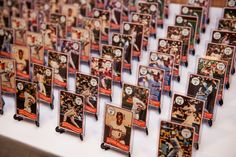 DIY escort cards ~ vintage baseball cards!