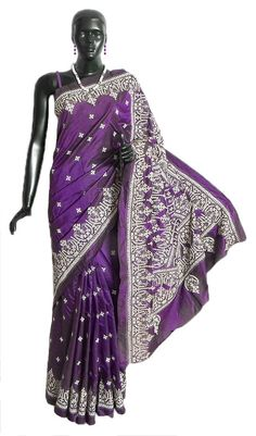 Dark Purple Pure Silk Saree with Kutch Embroidery