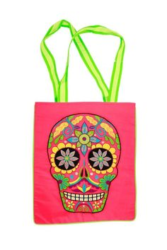 """Embroidered sugar skull tote with vibrant skull design and colorful handles.    Measures: 15"""" x 13""""; 12"""" strap drop   Sugar Skull Tote by A Little Bit Hippy. Bags - Totes Roanoke, Virginia"""