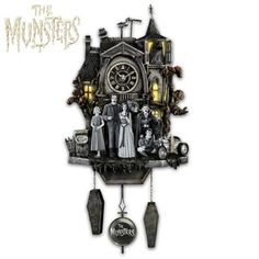 Limited-edition, hand-cast and hand-painted clock features The Munsters® in front of their spooky house. Plays music and the house lights flicker!
