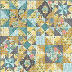 Starlight Quilt, square, free pattern by Bari J for Art Gallery Fabric Star Quilt Blocks, Star Quilt Patterns, Star Quilts, Scrappy Quilts, Baby Quilts, Memory Quilts, Canvas Patterns, Bonnie Hunter, Quilting Projects