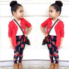 $9.68 - 3Pcs Kids Toddler Girl Long Sleeve T-Shirt Top+Red Coat+Pant Clothes Outfit Set #ebay #Fashion