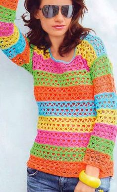 Bright Stripes Crochet Sweater - Free Crochet Diagram - (xobi)