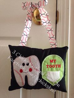 Items similar to Baseball Tooth Fairy Embroidered Pillow on Etsy Tooth Fairy Pillow, Teeth, Embroidery Designs, Applique, My Etsy Shop, Reusable Tote Bags, Baseball, Pillows, Knitting