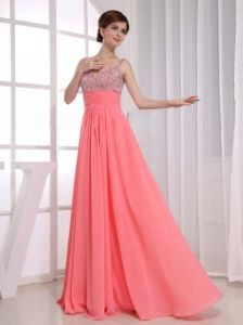 Beading Empire Straps Watermelon Chiffon Floor-length Prom Dress