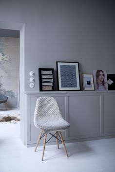 Eames side chair with knit slipcover at Chez Marie Sixtine, a guest apartment in Paris, Julie Ansiau photo | Remodelista