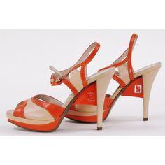 Fendi Orange and Beige Strappy Heels
