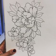 Japanese Flower Tattoo, Japanese Flowers, Japanese Art, Peony Drawing, Floral Drawing, Drawing Flowers, Tattoo On, Cover Tattoo, Flower Tattoo Designs