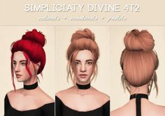 Simpliciaty Divine• Io's edit of Pooklet's V3 textures. All ages. For sims 2.  • Color spectrum here. Naturals are binned. Greys linked to blacks.  • This hair is 14k polys.  Credit  Mesh: Skysims, LeahLillith, Simpliciaty  Conversion: 4t2 by me  Colors:...