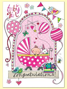 Baby Girl Congratulations! Greeting Card by Rachel Ellen Designs