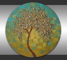 "Palette Knife Heavy Texture Gold Tree Painting Abstract Landscape 20"" Round Canvas ORIGINAL Contemporary Floral Art Textured Wall Art  by ZarasShop"