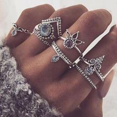 Boho Moon Ring Set ($100) ❤ liked on Polyvore featuring jewelry, rings, bohemian jewelry, peace sign jewelry, clear jewelry, metal jewelry and set rings