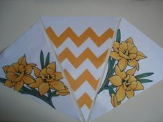 Fabric Bunting Chevron Black Yellow Flower Combo by customflag, $19.00 Custom Feather Flags, Custom Flags, Boat Flags, City Flags, Fabric Flag Banners, Fabric Bunting, Military Homecoming Signs, Wedding Flags
