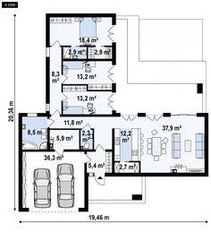 Projekt domu Zx133 Nowoczesny dom parterowy z garażem dwustanowiskowym
