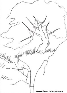 Trace-able for the fantasy Cherry Tree with waterfall with The Art Sherpa
