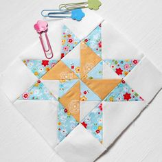 Block 282 Martha. Here is yesterday's double pinwheel block right in the middle of #farmerswife1930s block no. 58. It is really just another eight-point star with a different middle. #patchsmithbad2015 #fqsfarmerswife1930 #fw1930sqal #marthablock #fw58martha