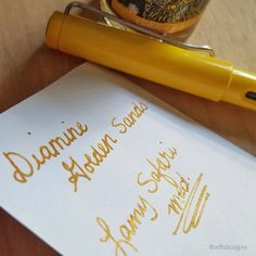 A currently inked goodness #diamine Golden Sands  @gouletpens how gorgeous is this?! I'm loving it. #penandink #mondaymatchupgiveaway #aftdesigns