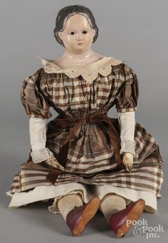 Greiner type papier-mâché doll with a stuffed body, 27'' h. - Price Estimate: $200 - $400