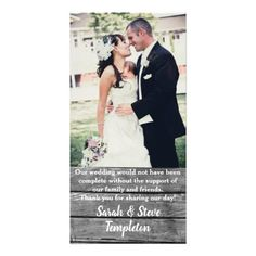 Rustic Wood  Wedding Photo Thank you Cards - rustic gifts ideas customize personalize