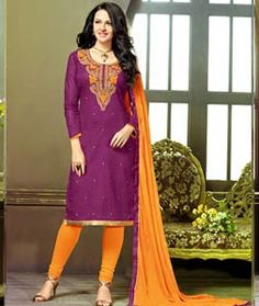Buy Purple Cotton Jacquard Churidar Suit 71862 online at lowest price from huge collection of salwar kameez at Indianclothstore.com.